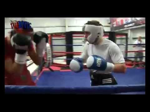 Welsh world boxing champion Nathan Cleverly sparring Jason Quigley of Ireland. Image 1
