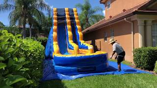 Deliver the blue 19 feet tall water slide