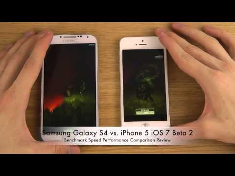 Samsung Galaxy S4 vs. iPhone 5 iOS 7 Beta 2 - Benchmark Speed Performance Comparison Review