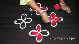 7 dots beautiful padi kolam with colors by easy rangoli designs - Beginners muggulu