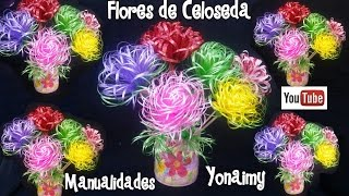 FLORES HECHAS CON CELOSEDA.- PLASTIC RIBBON FLOWERS.