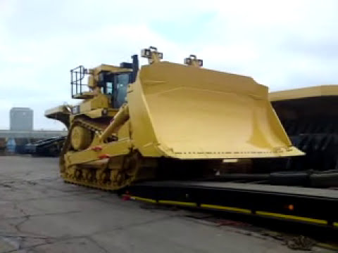 Loading a 104 ton CAT bulldozer.