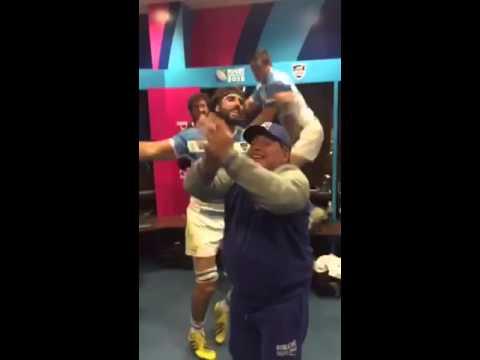 Diego Maradona eufórico por la victoria de Los Pumas ante Tonga