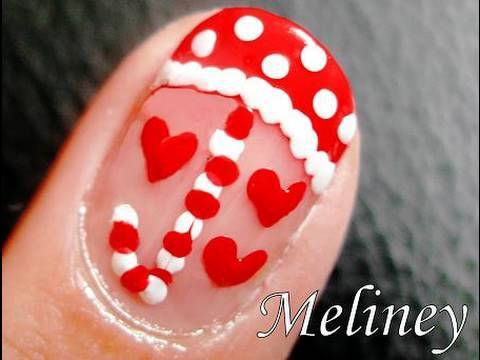 Nail Art Tutorial - Raining Love Valentine's Day Design for Short Nails