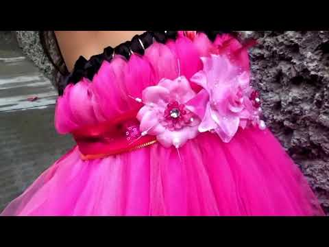 Vestido de Tul sin costura listón,flores fácil tutu how to make tutu dress