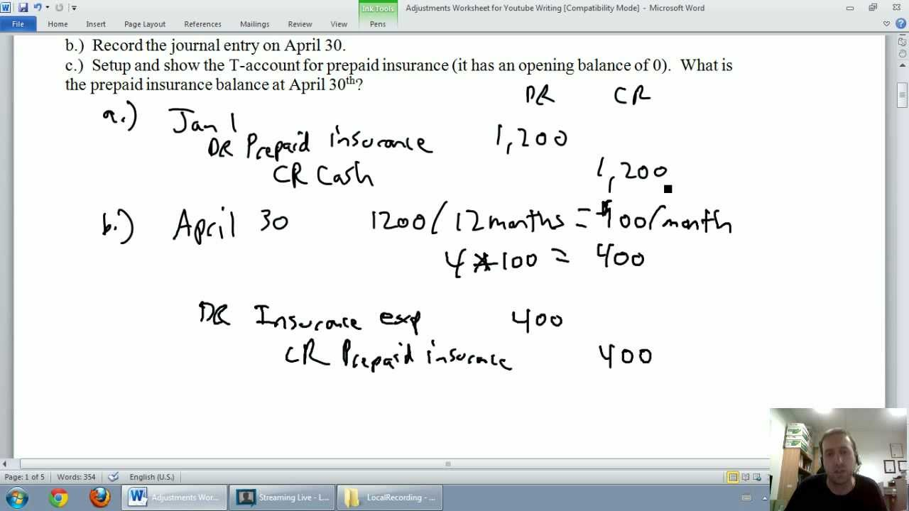Accounting - Unit 3 - Part 1: Prepaid Expenses - YouTube