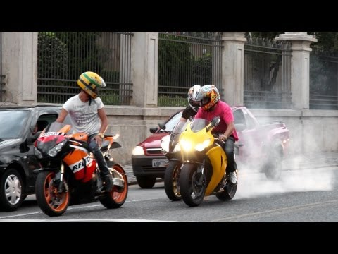 Honda CBR 1000RR Burnout, S1000RR & Hayabusa Wheelie, CBR vs. 650F, R1 R6 ZX6R Hornet - Lound Sounds