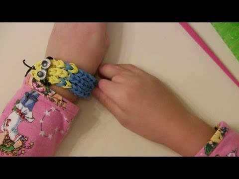 How to make Despicable Me Minion rubber band / rainbow loom bracelet