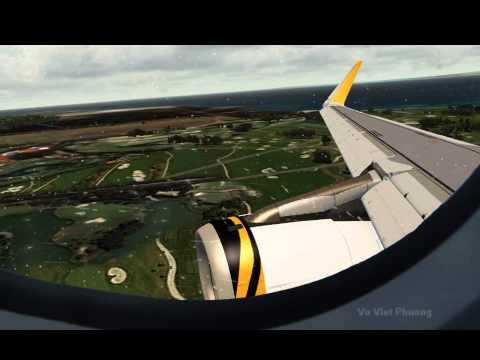 [FSX] A320 sharklet Tiger Airways landing 02L Singapore Changi WSSS