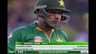 Pakistan vs Australia Sharjeel Khan thrilling 74 Runs 4th ODI
