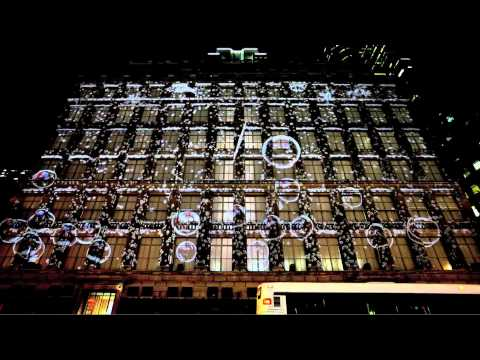 Saks Fifth Ave Snowflake & Bubble 3D projection 2010