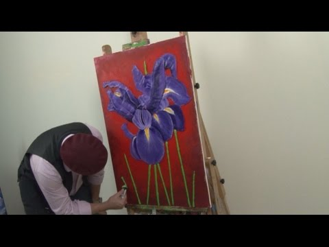 Art Lesson : How to paint 3D Irises in Acrylic