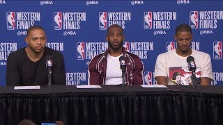 CP3, Eric Gordon & Ariza Postgame Interview - Game 2 | Warriors vs Rockets | 2018 NBA West Finals