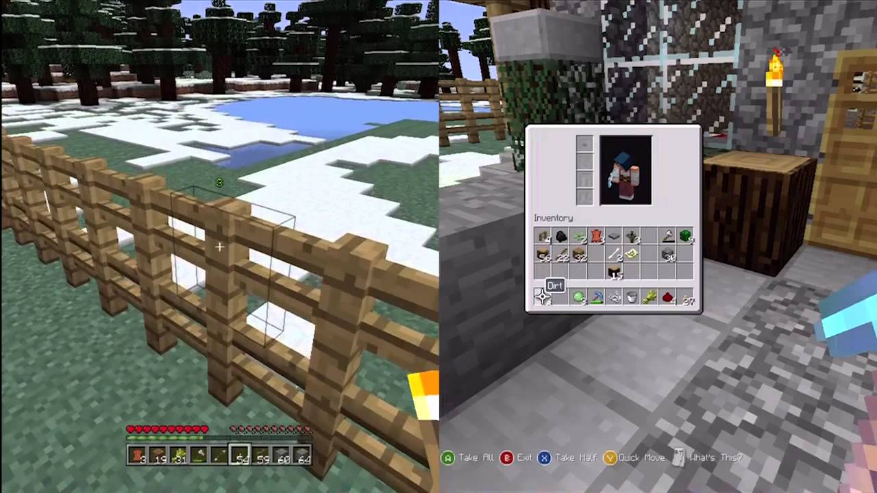 how to put splitscreen on minecraft xbox 360