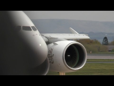 Emirates A380 EK18 Aviation Viewing Park Manchester Airport with ATC Takeoff