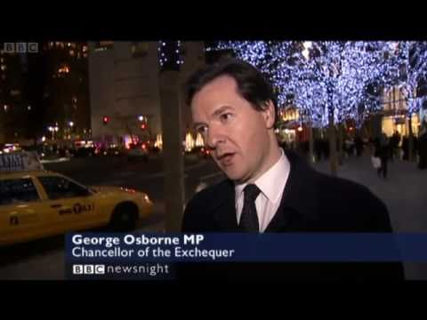 George Osborne promotes British banking & cuts in New York (Newsnight 17/12/2010), bankers' bonuses
