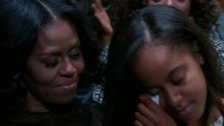 Malia Obama tears up during dad