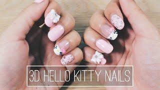 Cute 3D Hello Kitty Nails //