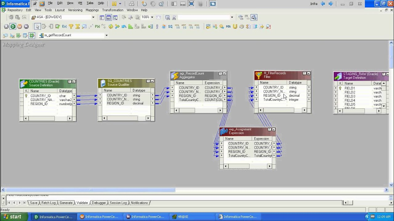 Data models or BI tools, and objects in the Informatica