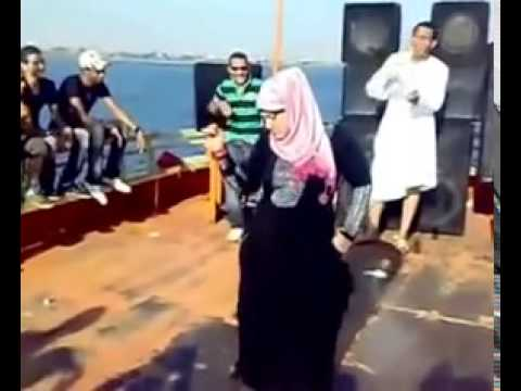 Hijab girl arab dance on nile