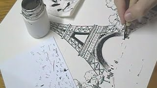 Speed Drawing - Eiffel Tower (aquarela/watercolor)