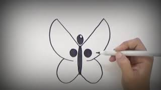 How to draw butterfly from letter Y , Drawing butterfly for kids