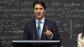 Canadian Prime Minister Justin Trudeau schools reporter on quantum computing during press conference
