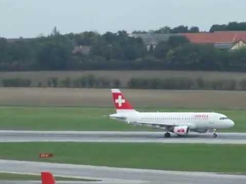 Венский аэропорт  - Взлёт Airbus 319 / Vienna Airport - Takeoff Airbus 319