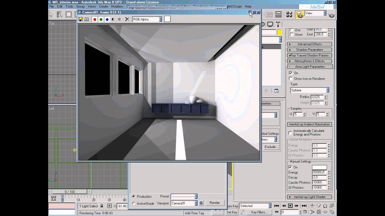 Video corso 3d studio max 8 21 3ds max rendering di un interno con mental ray renderer youtube - Materiale specchio 3ds max ...