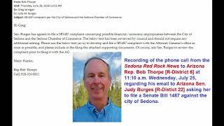 Phone call between Arizona Rep. Bob Thorpe and the Sedona Red Rock News
