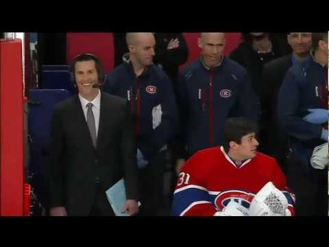 Carey Price saves Marc Denis with a nice glove save on the bench. Feb 18th 2013