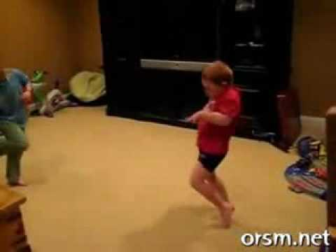 Little HIP Redhaired Boy in Red Shirt DANCING to RAP ... HILARIOUS