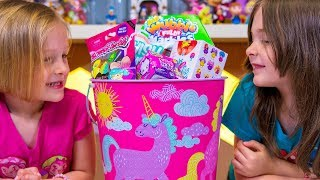 Fun Unicorn Easter Basket filled with Surprise Toys Toy Eggs Blind Bags for Girls Kinder Playtime