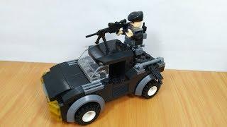 đồ chơi ráp Lego lính quân đội lái xe bắn súng