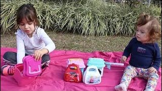 Funny Kids -  Opening Miraculous Barbie Frozen Ladybug Peppa Pig Moana And Shopikins In The Park