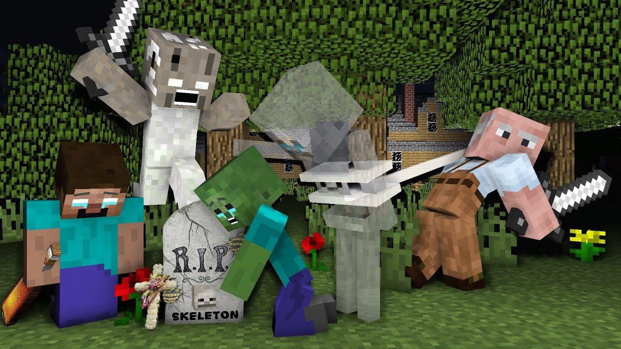 Monster School : RIP Skeleton | Zombie Life 1 VS  Granny & Grandpa - Minecraft Animation