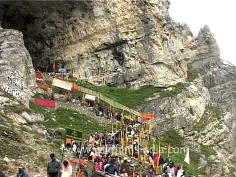 Pilgrims enter the cave of Amarnath