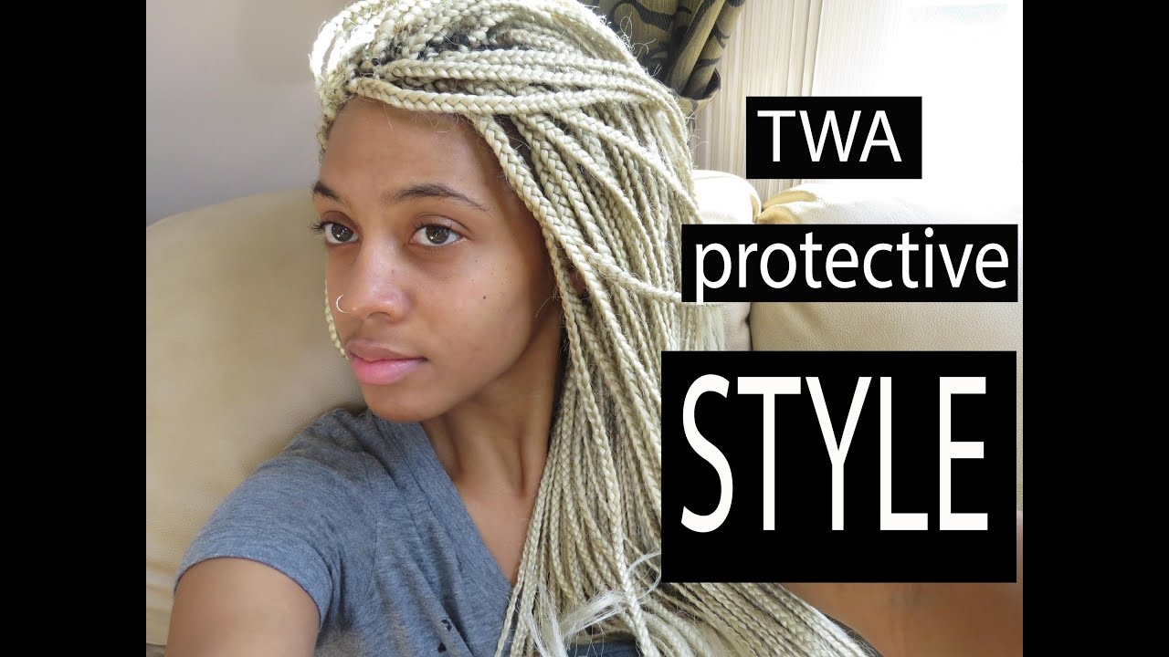 Blonde Box Braids Natural Hair Protective Style Youtube