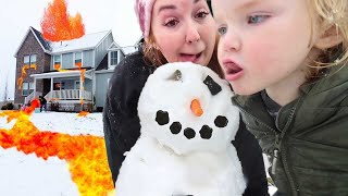 SNOW and HOT LAVA??  First Snowman of Winter and a Family Snowball fight with Adley & Niko ⛄