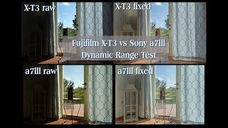 Fujifilm X-T3 vs Sony a7lll raw & jpg Dynamic range Test (2019)