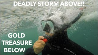 Underwater Metal Detecting ($1,000,000 Hail Storm Destroys Everything!!) Found Gold & Diamonds