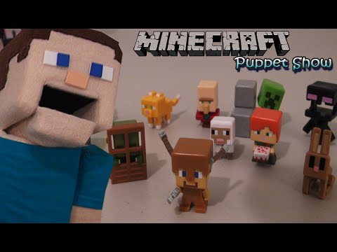 Minecraft Toys Series 4 Obsidian Unboxing Mini Figures Puppet Steve Review