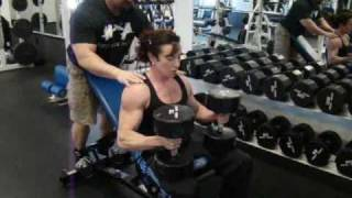 NPC Female Bodybuilder & IFPA Personal Trainer Justine Dohring Dumbbell Incline Chest Presses