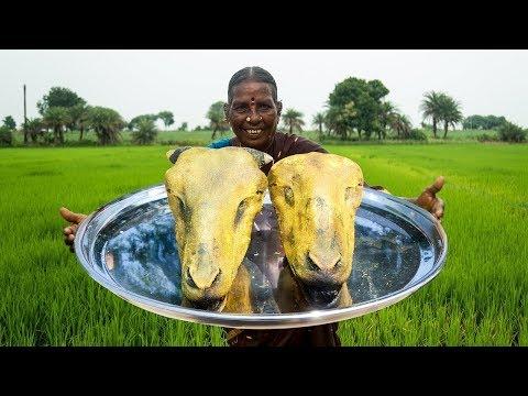అవ్వ చేసిన మేక తలకాయ కూర రుచి అదుర్స్ | Village Style Goat Head Curry Making