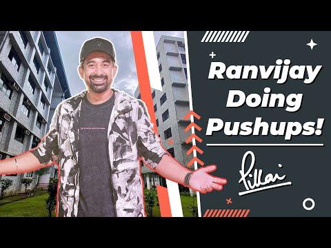 MTV Roadies star Ranvijay Singh doing push ups at Pillai College