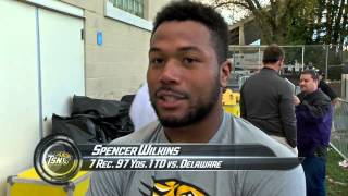 Towson Football's post game response to 24-17 win over Delaware