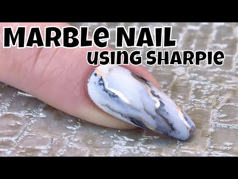 Marble Effect Nail using Sharpie