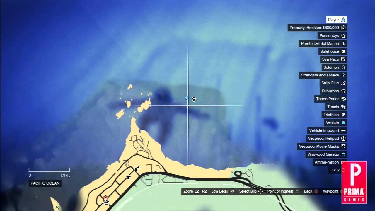 где найти обломки подводной лодки в гта 5