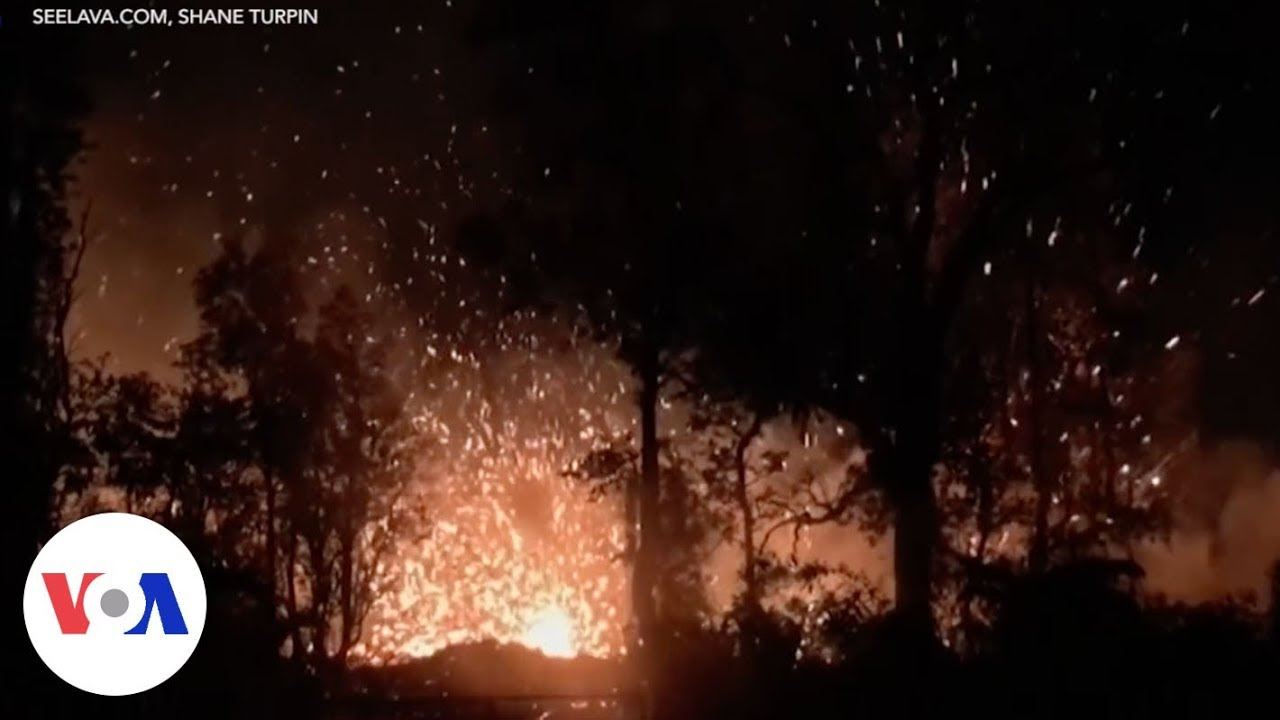 Flames, smoke and lava trail from Hawaii volcano eruption