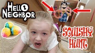 Squishy Scavenger Hunt vs Hello Neighbor in Real Life! Stair Slide Race!!!